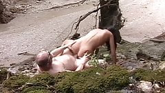 Young brunette babe fucked outside