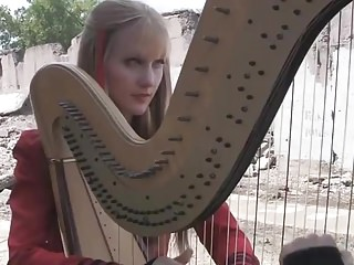 Adult harp festival Two girls one harp