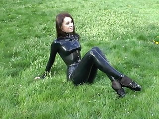 Catsuit fetish gay sex Natural brunette - ballet heels latex catsuit 2