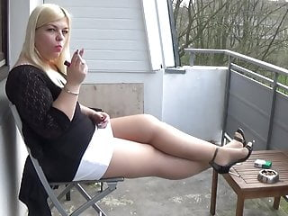 Smoking in pantyhose blonde sexy Mariella smoking in pantyhose and heels