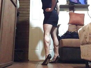 Spandex sexy mini dresses Sexy black mini dress and stiletto high heels