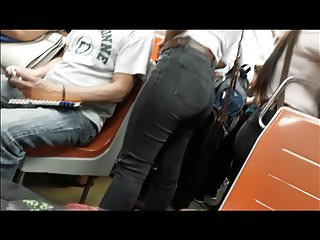 Sexy girls subway - Sexy girl with tight jeans in subway