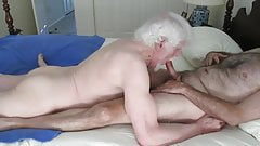 Bearded grandpa sucking daddy's cock in bed