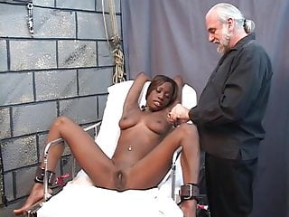 Girls inspect penis Young black girl is restrained, then clamped up before speculum inspection