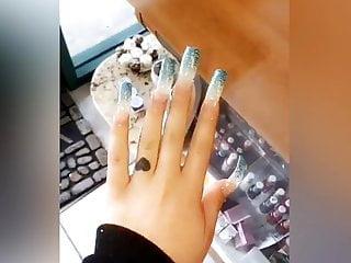 Super long cock shemales selfsucking - Super long blue nails
