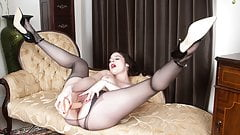Kinky Milf Karina Currie fucks huge cock toy in pantyhose