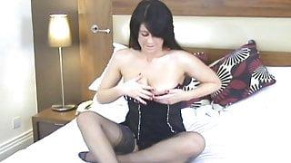 joung milf in stockings masturbate with dildo