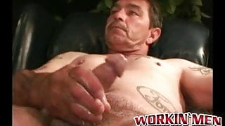 Inked mature stud teases with butthole in wanking solo