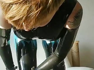Latex maid ballet boots Latex, ballet boots, cuffs, chastity belt...amazing