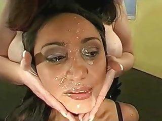 Dark spot in sperm Faces full of cum - ladies bathing in sperm