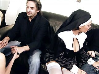 Milf moms big tits Two hot milf moms nuns talk to rough fuck at ffmm foursome