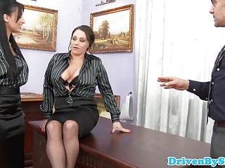 Nikita devine free porn Office trio babe cleansup cum after mff trio