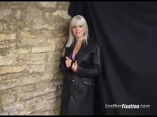 Long double breasted womens wool coat Sexy horny babe fingers pussy wrapped in long leather coat