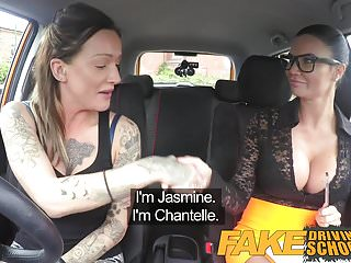 Strap on cumshot video Fake driving school sexy strap on fun for new big tits drive