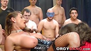 Busty group banged slut