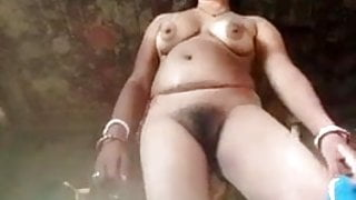desi indian village babe strips and show hairy pussy