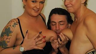 AMATEUR EURO -Katarzyna S. & Erna Shares Cock In Hot FFM Sex
