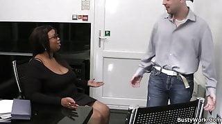 Ebony fatty spreads her legs for job