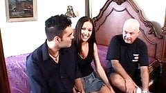 Hubby watches another man fuck his hot black hair wife in bed