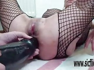 Fucking both holes Xxl double dildo fucking both her holes