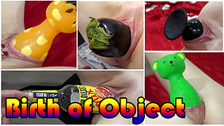 Compilation of birthing objects. Forward and reverse video.