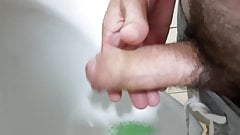 Straight guy jerking off in public toilet