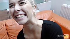 HUNT4K. Shaved vagina of cute blonde should be banged