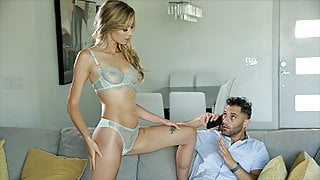 Hot Blonde Haley Reed Seduces Busy BF For Sensual Fuck