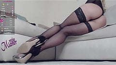 Fishnet stockings and high heels