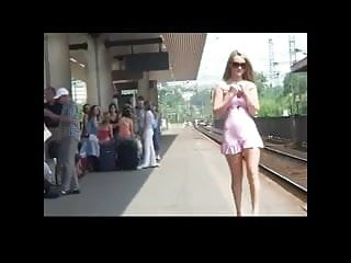 Railway nude Horny girl flashing at railway station bvr