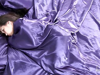 In lingerie model satin sheet Satin sheet arousal