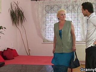 Home of pussy grandma - He brings hairy blonde grandma home for play
