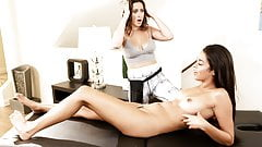 Nasty lesbian sex on a massage table