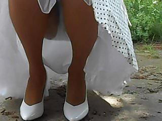 Retro upskirt teens Squatting in stockings