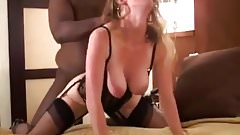 Young wife breeded in black lingerie by husband