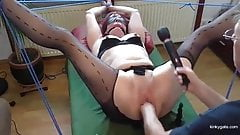 Slut wife pisses and is fisted hard