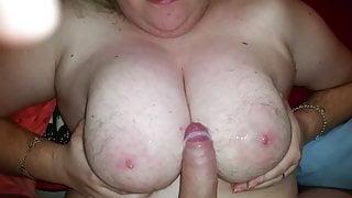 cum on hairy tits