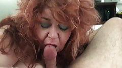 Redhair ssbbw gives blowjob