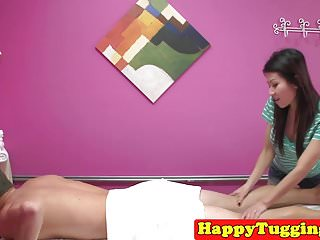 Older asian masseuse handjob video - Busty asian masseuse wanks cock till cum