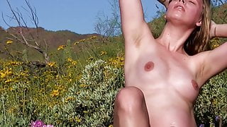 Pregnant girl posing nude in nature