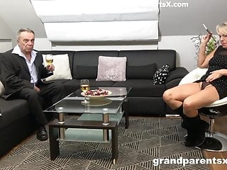 Threesome couple maid Old couple fucks the young busty maid