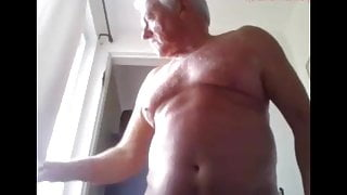 grandpa shower and play on webcam