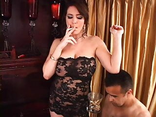 Cigarette smoking during sexual acts Mistress spitting makes slave eat ash cigarette smoking