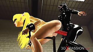 Woman in black latex outfit plays with japanese cuffed girl