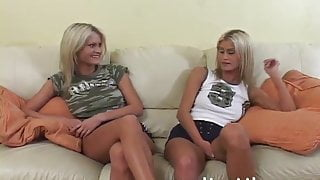 Blonde identical twins do share and fuck the same guy