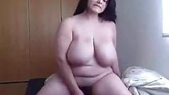 Hot BBW fucks dildo