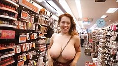 redhead huge boobs flash in store