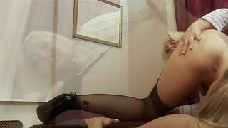 Horny secretary rides blonde babe's strap-on in an office