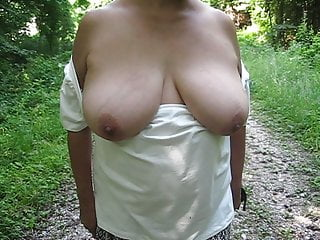 Matures with big tits in public - Public flashing of the big tits