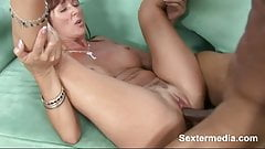 Strong bumped slit of Lusty Whore pussy looks tiny full of